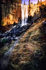 On the Trail to Vernal Falls (Bartfett) Tags: california park light sunset cliff sunlight water river waterfall big rocks glow merced hike falls trail national yosemite vernal