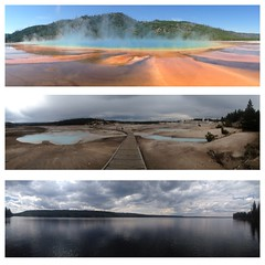 3 favorite panoramas of Yellowstone National Park (Colleen7n) Tags: park travel summer lake colors montana roadtrip basin national yellowstone wyoming geyser hotspring 2014 uploaded:by=flickrmobile flickriosapp:filter=nofilter