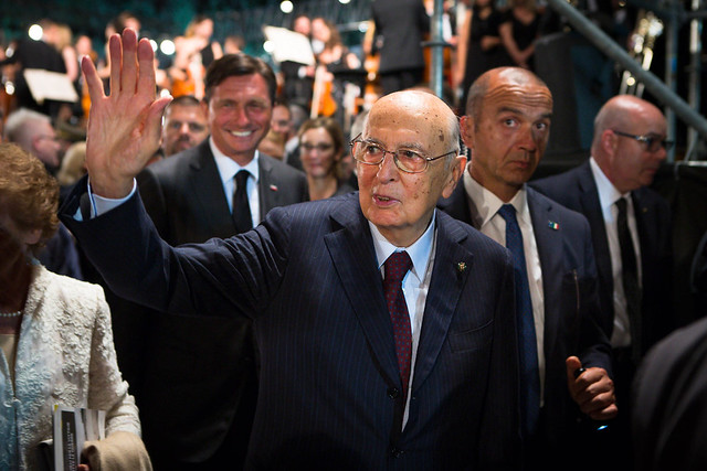 I Capi di Stato Borut Pahor e Giorgio Napolitano arrivano al Concerto