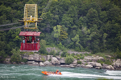 Niagara-8543 (l3n2k1) Tags: red orange canada tourism water car yellow speed boat cable tourist niagara falls rapids whirlpool