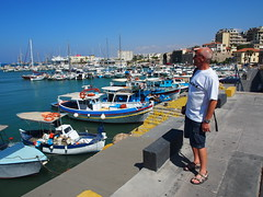My dad looking over The Heraklion harbour!
