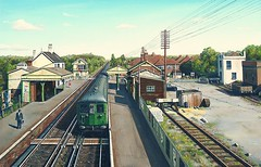 Ashtead 1959 (Deepgreen2009) Tags: old station electric train painting railway surrey portsmouth historical express oils 1959 ashtead 6pan