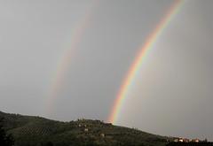 Rainbows Either Side of a Castle (Vecchia Casa Umbria) Tags: summer italy castle rain countryside rainbow italia estate hill august agosto pioggia arcobaleno castello colle vecchiacasa greenumbria ruralumbria
