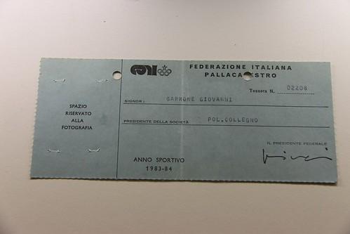 Tessera Gianni Garrone 83-84