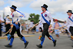 Morris (Raphooey) Tags: uk england man southwest west men festival bells canon eos dance sticks exposure slow dancers dancing bell folk south sid dancer vale international devon valley western gb week stick pan morris panning sidmouth 70d