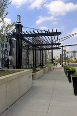 Long Street Bridge (oxfordblues84) Tags: bridge columbus ohio sky clouds mural bluesky cap columbusohio odt highwaycap culturalwall longstreetbridge
