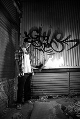 Wake up call (Alehk Rod) Tags: madrid street boy urban espaa white black graffiti spain y space negro banco ruinas chico fabrica espacio desastre