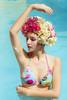 (Tc photography.Perú) Tags: flowers summer sun pool girl beauty fashion rose yellow photoshop canon swan model colorful photoshoot makeup bikini swimmer hydrangea t3i photofashion tcphotography