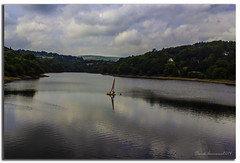 SAILING ON THE RESERVOIR (vicki127.) Tags: camera bridge love club digital photoshop flickr pics district 4 award peak adobe cannon lightroom cs6 650d waley vickiburrows vicki127 todbrookreservoir derbyshiretreeshillscloudsreflectionsboat