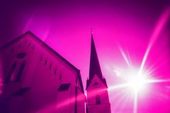 Pfarrkirche St. Georg (Markus Moning) Tags: sky sun film church st parish backlight analog 35mm germany bayern deutschland bavaria lomo lca xpro lomography fuji cross himmel x velvia chrome pro 100 process lc expired fujichrome sonne gegenlicht georg moning pfarrkirche markusmoning eggsttt