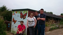VSquad with the completed Education Garden mural (Warwickshire Wildlife Trust) Tags: youth butterfly caterpillar coventry westmidlands warwickshire solihull youngpeople wildlifetrust youthproject brandonmarsh warwickshirewildlifetrust