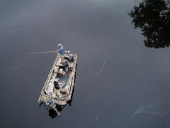 Fly fishermen on the Chippewa (Citizen 4474) Tags: family boy people fish reflection tree men water lines wisconsin river lumix boat fishing curves panasonic flyfishing pancake 20mm float overhead subjects eauclaire chippewa angling sportsmen miscobjects