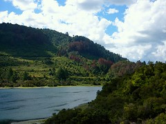 Just around the riverbend (Rebekah H. Photographie) Tags: blue trees newzealand summer vacation sky cloud tree green nature water clouds river outside bush stream taupo bushes