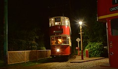 London Tram No.1858, on the country end of the line. East Anglia Transport Museum. Autumn Gala.  24 09 2016 (pnb511) Tags: eastangliatransportmuseum suffolk red doubledecker tram london dark evening street light tramstop