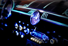 Dash (The Moon & Back) Tags: color car dash ford chevy classic pinstripe black old roadster neon