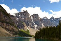 (its mb) Tags: outdoor hill landscape cliff mountain lake moraine banff national park canada alberta trees sky clouds