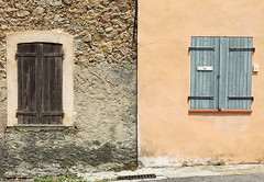 So near, and yet....  Tourtour, Var, Provence, France (Hunky Punk) Tags: window shutters street village tourtour var provence france contrast distance stone stucco