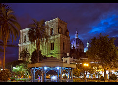 Cuenca Cathedral and Main Plaza (Sam Antonio Photography) Tags: cuenca ecuador southamerica twilight dusk night cathedral park city cityscape travel architecture samantoniophotography america church dome latin blue colonial building landmark religion sky spanish catholic town immaculate gazebo iglesia downtown catholicism square inglesia tourism monument colorful religious cloudy historic christian skyline catedral cupola worship history tower culture