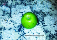 Apple with Freckles_ Chicken Pox.222 (JerimiahRico) Tags: complex random freckles pox applechicken chickenpox spots applepox jerimiahrico jojomug45 amateurs photoshop interesting what odd good green apple greenapple notice workwithit working shades vitamix add