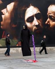 The Grim Reaper (stevedexteruk) Tags: halloween skull street performer caravaggio art trafalgar square london uk 2016 westminster city national gallery