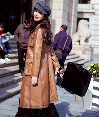 70s Style Pu Leather Trench (betrenchcoated) Tags: trenchcoat 70s trench beautifulgirl buttons brown sweet pu coat