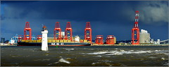 Officially Opened Today (Port of Liverpool)  Liverpool Two Deep Water Container Terminal (Peel Ports) 4th November 2016 (Cassini2008) Tags: portofliverpool peelports rivermersey fortperchrocklighthouse newbrighton mscflorida containership mediterraneanshippingcompany