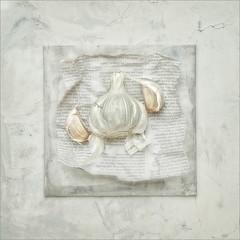 Garlick cloves (Stan Farrow Photography) Tags: garlic cloves square blur orton text newsprint white