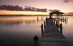 Walkway in the sky. (Jill Bazeley) Tags: pier dock piling faucet hurricane matthew damage pineda causeway intracoastal waterway indian river lagoon brevard county space coast florida sunset clouds boat house boathouse sony alpha a6300 sel1670z 1670mm