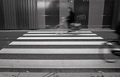 * (Johuhe) Tags: bikes city people motion blur lines zebra urban street structures canon ae1 fd 28mm kodak tmax 400 800 pushed pushprocessing black white monochrome film analogue xtol epson v500
