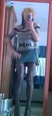 Outfit for going out (ceskadevka_rk) Tags: stripes stripy leather black belt denim skirt tights heels sexy lady shopping ceska devka