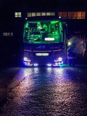 Bus to Hogwarts, Japan (PeterThoeny) Tags: bus light headlight rain wet shirakawa shirakawago japan hdr 1xp raw iphone iphone6plus photomatix night outdoor qualityhdr qualityhdrphotography fav50