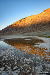 Badwater Pool Sunset (kevin-palmer) Tags: deathvalley deathvalleynationalpark nationalpark california mojavedesert badwaterbasin saltflats salty hot clear blue sky sunny sunshine sunset evening nikond750 november fall autumn tokina1628mmf28 water pool reflection mountains