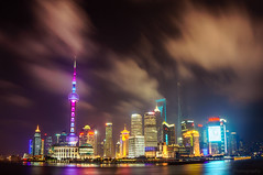 Lujiazui (fbkphotography) Tags: china citylights clouds huangpuriver lujiazui night shanghai travel 上海 陆家嘴 陸家嘴