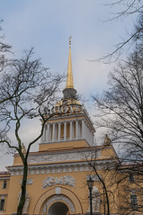 The Admiralty Tower (Ivanov Andrey) Tags: thespire building tower architecture history square street quarter theadmiralty thecity stpetersburg russia park weathervane gold tree twig winter sky cloud blue cyan shadow scenery walk travel