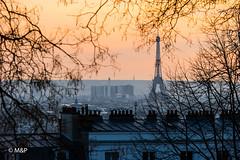 Paris Orange (MNP[FR]) Tags: trees sunset europe roof cityscape paris france eiffel tower montmartre samsung tour arbres coucher de soleil iledefrance toits nx1