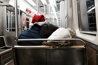 Santa & his sweetie ride the CTA