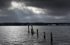 Enlightment of the Six (scottnj) Tags: sky godrays clouds drama dramatic scottnj scottodonnellphotography pier piling pilings landscape seascape waterscape tomsriver nj newjersey islandheights water river