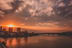 When the Sun Hits the Buidling (satochappy) Tags: sunset sun burst clouds radial river australia parramattariver sydney bridge buildings evening riverside