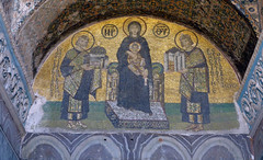 Mosaic of the Virgin and Child with Constantine offering the Constantinople and Justinian offering Hagia Sophia, Hagia Sophia (profzucker) Tags: architecture mosaic minaret istanbul mosque dome ottoman orthodox hagiasophia byzantine constantinople easternorthodox justinian isidore revetment miletus tralles pendentive semidome anthemius pencilminaret