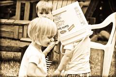 Kim - 180/365 (Mechki) Tags: camp sepia kids bucket head toddlers