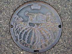 Daiei Tottori, manhole cover 4  (MRSY) Tags: plant tree japan watermelon cannon  manhole    tottori daiei