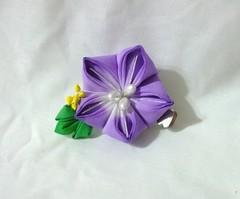 small purple bellflower (EruwaedhielElleth) Tags: flower hair japanese pin clip maiko ornament fabric hana geisha folded tsumami kanzashi zaiku