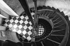 Internal spiral stairway (Brett of Binnshire) Tags: blackandwhite bw usa lighthouse architecture stairs nc buxton northcarolina historicalsite capehatterasnationalseashore