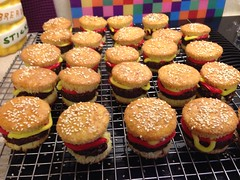 Hamburger cupcakes by Lisa, Santa Cruz,CA, www.birthdaycakes4free.com