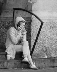 Copenhagen (juliemirab) Tags: cold coffee girl mobile copenhagen denmark sad smoke freezing talk trainstation