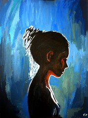 Blacklight (francescocarandente) Tags: blue light shadow portrait sky art girl neck nude fire perfect paint artistic dreaming blacklight fc shoulder fluo acrilic melaniabrescia mariusmarkowski