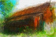 the old gardenhouse (franzisko hauser) Tags: wood old flowers trees art colors garden digitalpainting gardenhouse