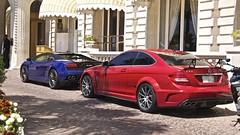 C63 AMG with Gallardo (Cars of French Riviera) Tags: cars car french benz riviera cannes ferrari monaco mclaren bmw audi bugatti lamborghini pagani mercedez merco