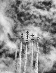 Dawlish Airshow 2014 - Smoke on! (Scotty Rae) Tags: bw southwest monochrome ir blackwhite display aircraft aviation airshow devon infrared redarrows dawlish dawlishairshowir