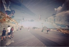 Coney Island boardwalk (Kate Hook) Tags: new york nyc film 35mm coneyisland doubleexposure manhattan multiexposure filmphotography lcwide